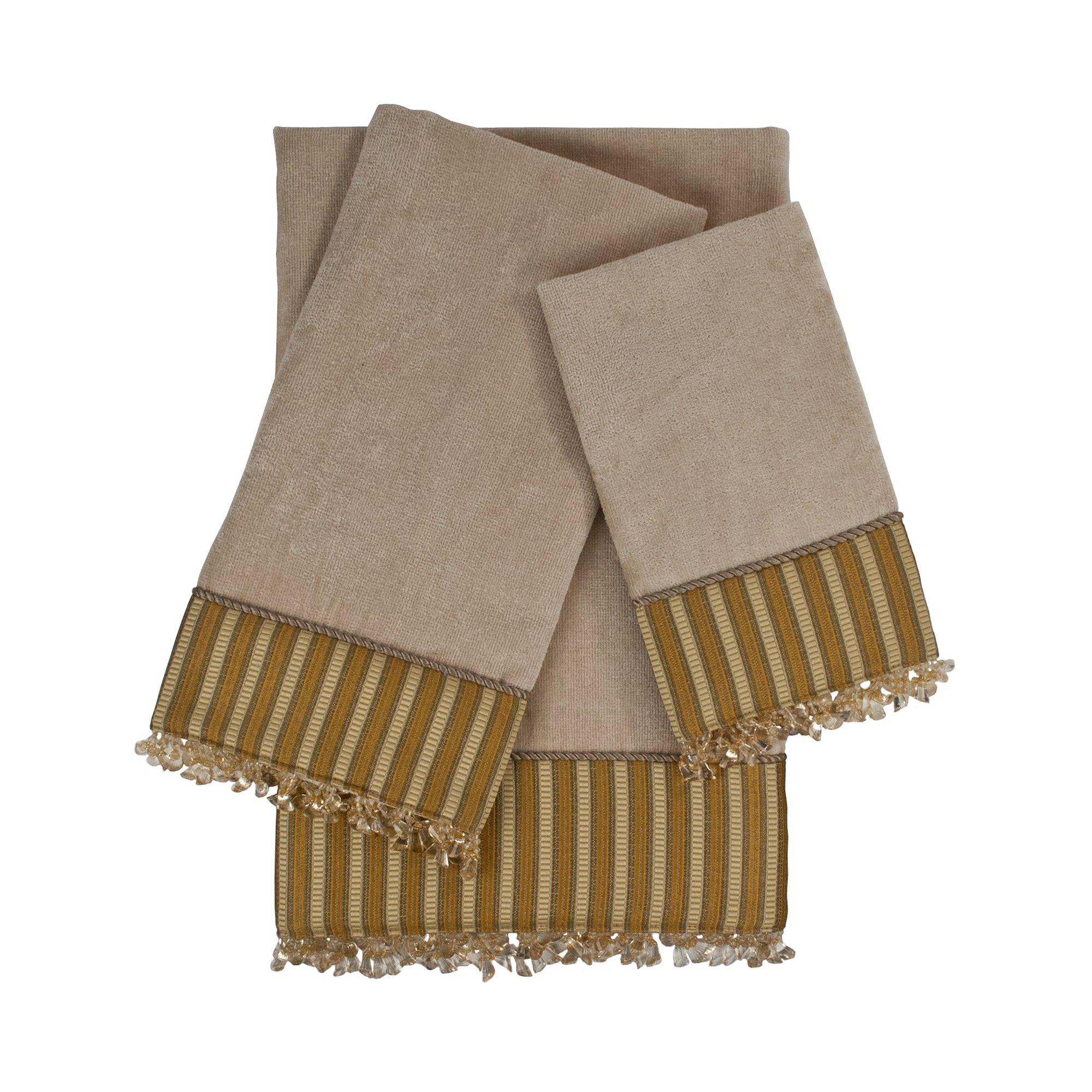Sherry Kline 3 Piece Mulligan Embellished Towel Set, Taupe