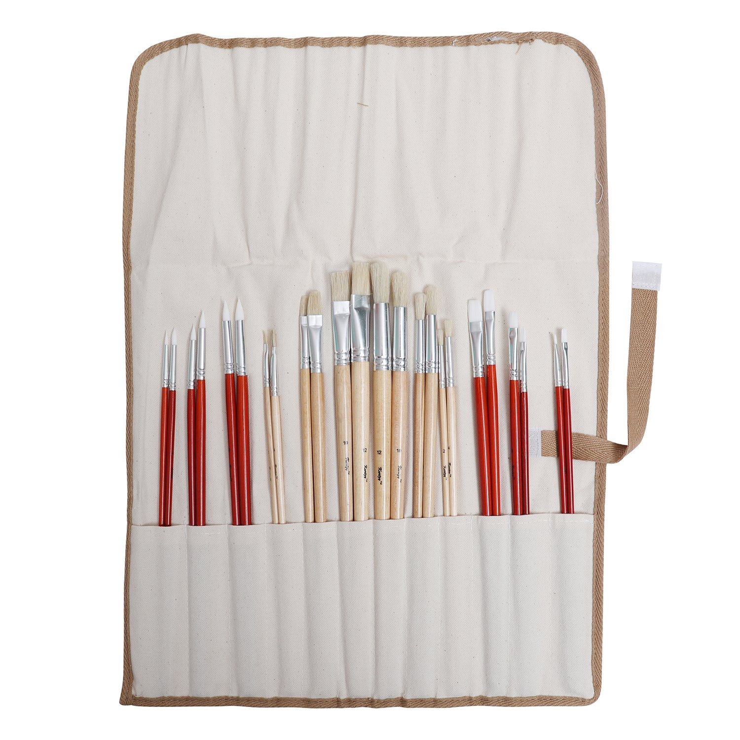 Kurtzy 24pcs Paint Brush Set with Case - Artist Paint Brushes for Watercolor, Oil, Acrylic Painting PB-6020-UK