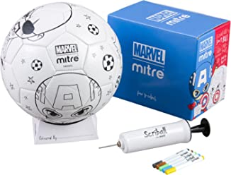 Mitre Marvel Avengers Scriball Personalisable Football with Colouring Pens