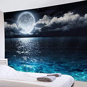 LB Night Sky Tapestry Full Moon on The Sea Tapestry Wall Hanging 3D Watercolor Magical Fantasy Tapestry Wall Art for Bedroom Living Room Dorm Wall Decor,80 x 60 Inches