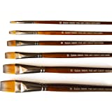 The Art Chest Flat Artist Paint Brushes for Acrylic Watercolor Gouache Tempera Ink Oil Golden Nylon Thin Edge Long Handle Prime Quality No Shedding Professional Brush Set of 6 Soft Face Body Painting