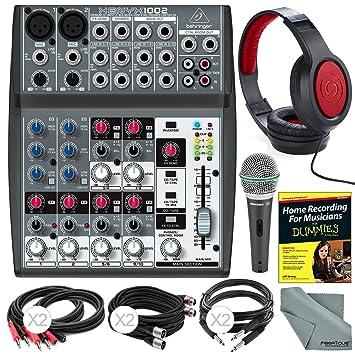 Behringer Xenyx 1002 – 10 Canal mezclador de audio y accesorio Bundle w/dinámico micrófono