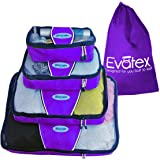 Packing Cubes | Travel Packing Cubes, 4pc Set | Packing Cubes for Travel |For Different Purposes, Cosmetic Bag | Toiletry Bag | Makeup Bag | Travel Bag | Luggage | Top Quality and Affordable with 100% No Hassles Refund! (Power Purple)