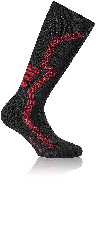 Rohner Ski Socken Racing Compression Ski Light L/R Bioceramic schwarz mit roten Streifen 39-41