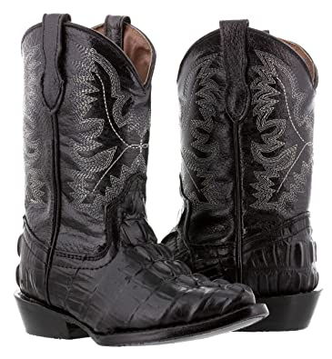 1277fee4007 Veretta Boots - Kids Toddler Black Crocodile Tail Leather Cowboy Boots J Toe