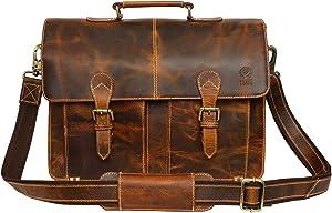 Handmade Leather Shoulder Briefcase Messenger Bag Mens 16 inch Laptop Satchel
