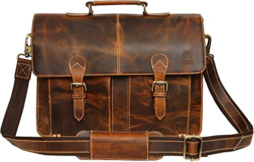 Handmade Leather Shoulder Briefcase Messenger Bag Mens 16 inch Laptop Satchel