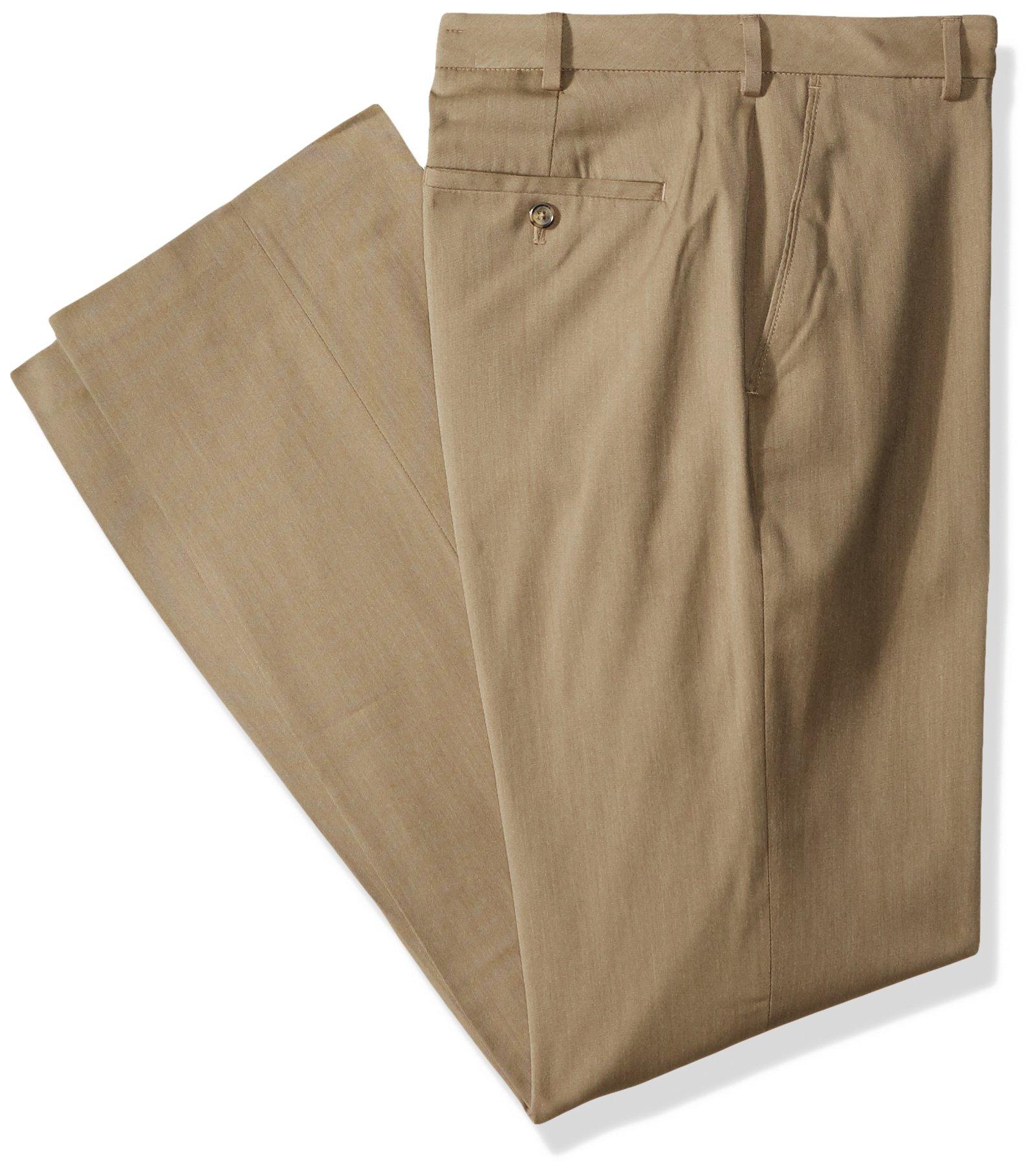 Van Heusen Men's Big and Tall Air Straight Fit Flat Front Dress Pant, Khaki, 36W X 36L