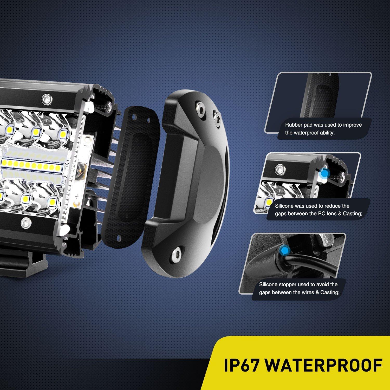 LED Light Bar Nilight 2PCS 6.5 Inch 120W Spot /& Flood Combo Driving Light Waterproof Led Work Light Triple Rows Off-road Truck Car ATV SUV Jeep Cabin Boat 2 Years Warranty 18022F-B