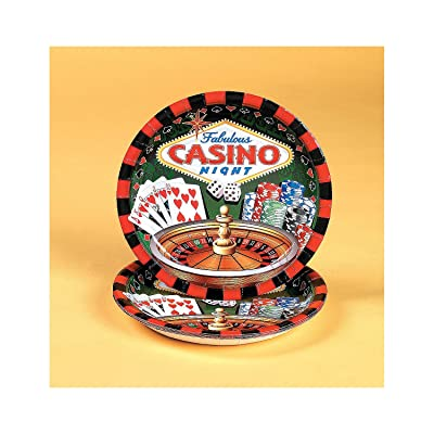 Fun Express - Casino Party Dinner Plates (8 Pc) for Party - Party Supplies - Print Tableware - Print Plates & Bowls - Party - 8 Pieces: Toys & Games