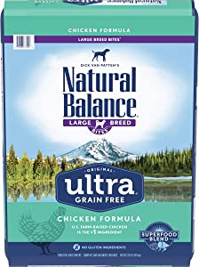 Natural Balance Original Ultra Grain Free Large Breed Bites Dog Food, Chicken Formula, 24 Pounds