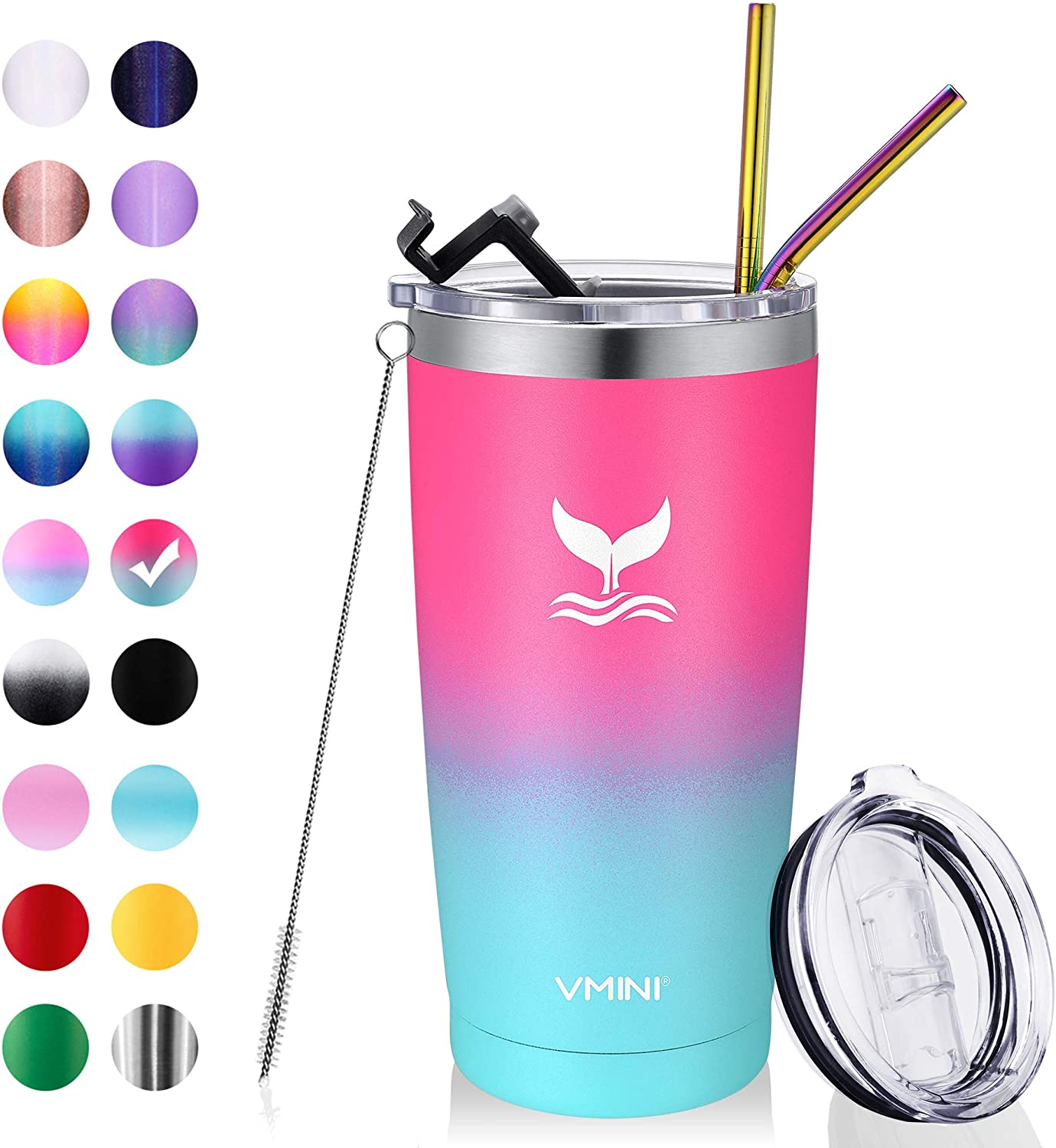 Vmini 20 oz Tumbler with Straws and Lids, Ice Coffee Tumbler, Travel Mug Vacuum Insulated Coffee Beer Pint Cup - 18/8 Stainless Steel Water Bottle : Pink + Mint