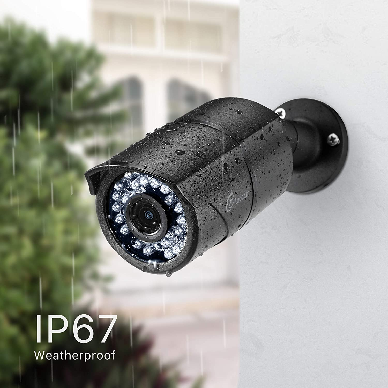 Weatherproof CCTV Camera with 36pcs IR LEDs 8.0 MP Ultra HD 8ch Surveillance H.265+ DVR and 4 x 8MP Bullet Cameras Loocam 8 Channel 4K Home Security Camera System 150ft Night Vision 2TB HDD 3840 x 2160