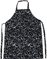 TRIXES Grembiule da chef nero regolabile con disegni fantasia, a tutta lunghezza