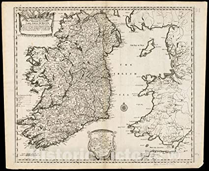 Map Of Ireland 32.Amazon Com Vintage Map 1690 An Epitome Of Sr William Petty S
