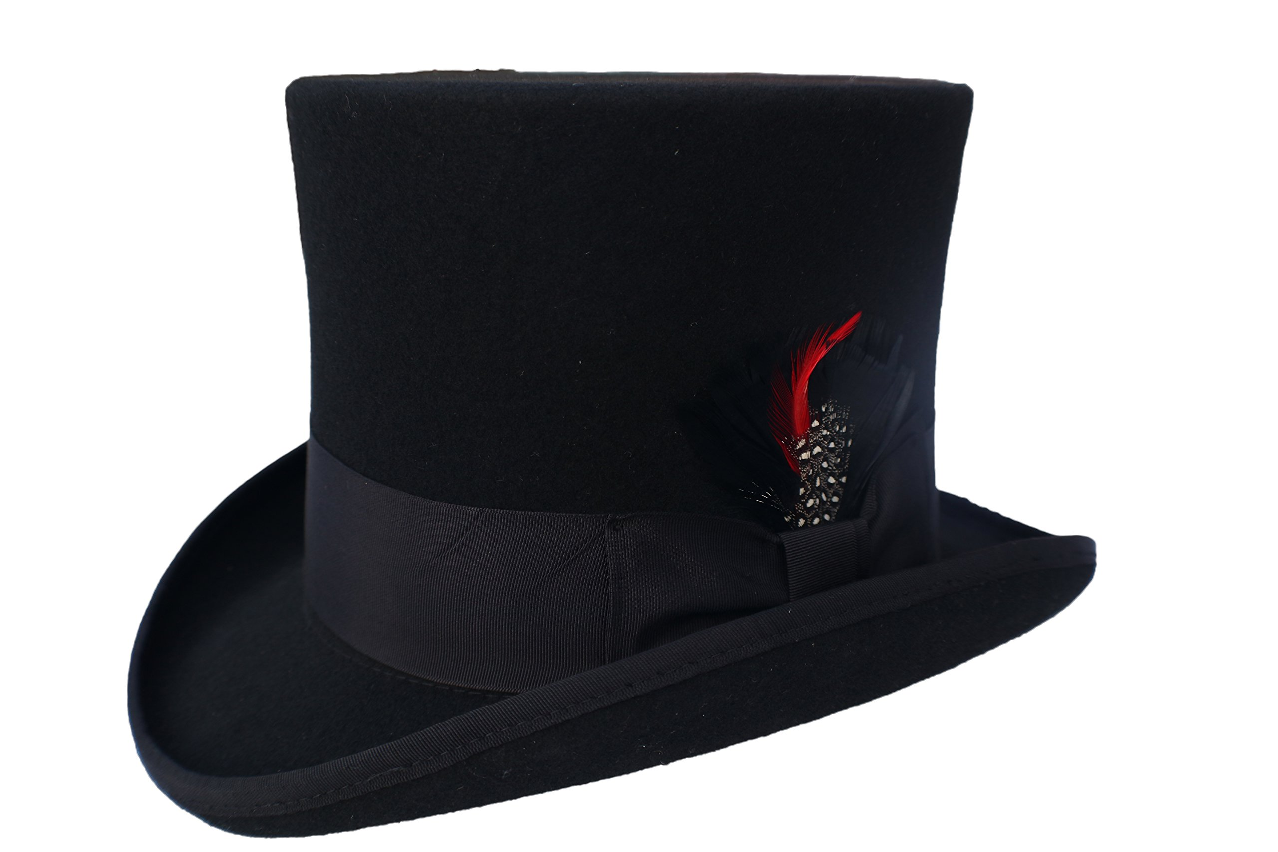 Elegante Men's Black Top Hat - 100% Wool (Small)