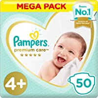 Pampers Premium care Diapers, Size 4P, Maxi Plus, 10-15 kg, Mega Pack, 50 Count