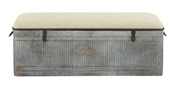 Deco 79 60966 Metal Fabric Storage Bench, 50u0026quot; ...