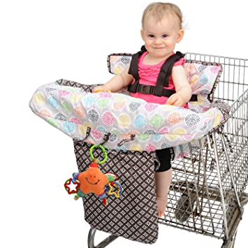Nuby Baby Shopping Cart Cover and High Chair Cover 2 in 1, Flower Medallion,