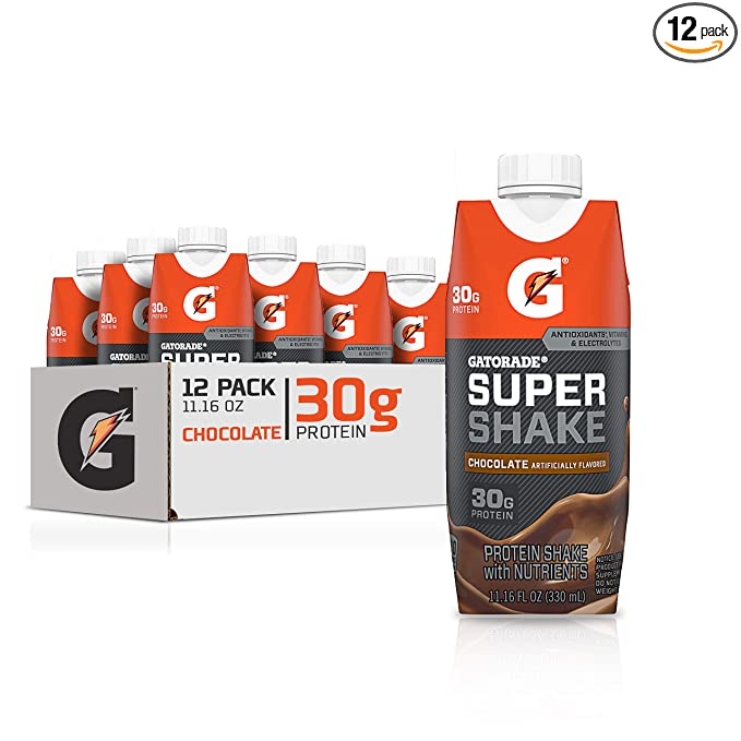 Amazon.com : Gatorade Super Shake, Chocolate, 30g Protein, 11.16 fl oz Carton, Pack of 12 : Grocery & Gourmet Food