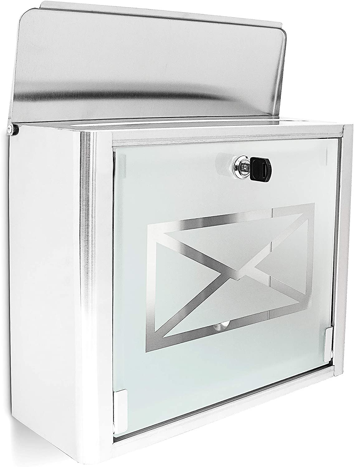 Locking Relaxdays Mailbox with Frosted Glass Door Silver//Gray HxWxD: 30.5 x 35.5 x 14 cm Stainless Steel Letterbox