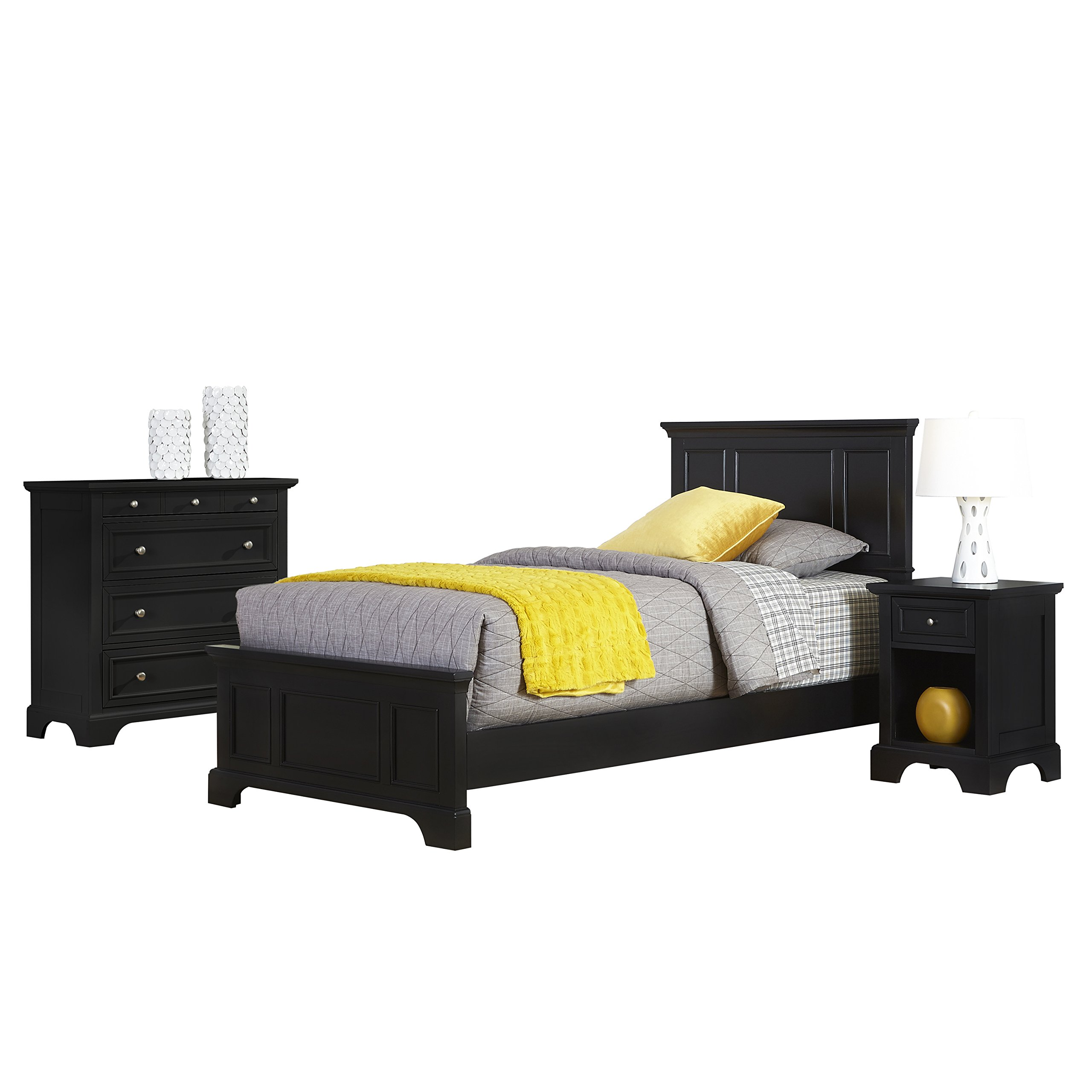 Bedford Black Twin Bed, Night Stand and Chest by Home Styles by Home Styles