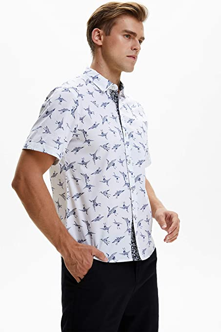 HISDERN Camisa Casual con Estampado Funky para Hombres Elegante dise/ño Floral Unico Algod/ón Regular Fit Camisas de Manga Larga para Hombres