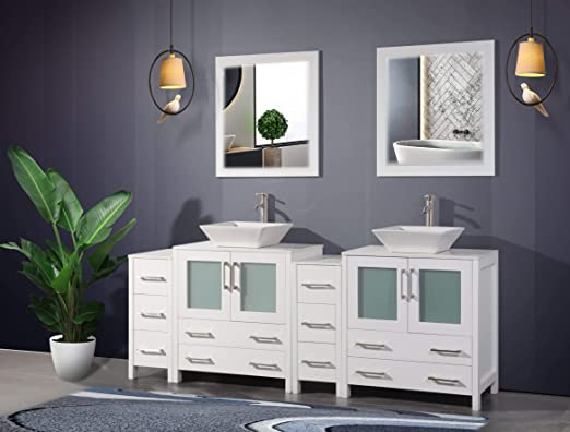 Amazon Com Vanity Art 84 Inch Double Sink Bathroom Vanity Set 2