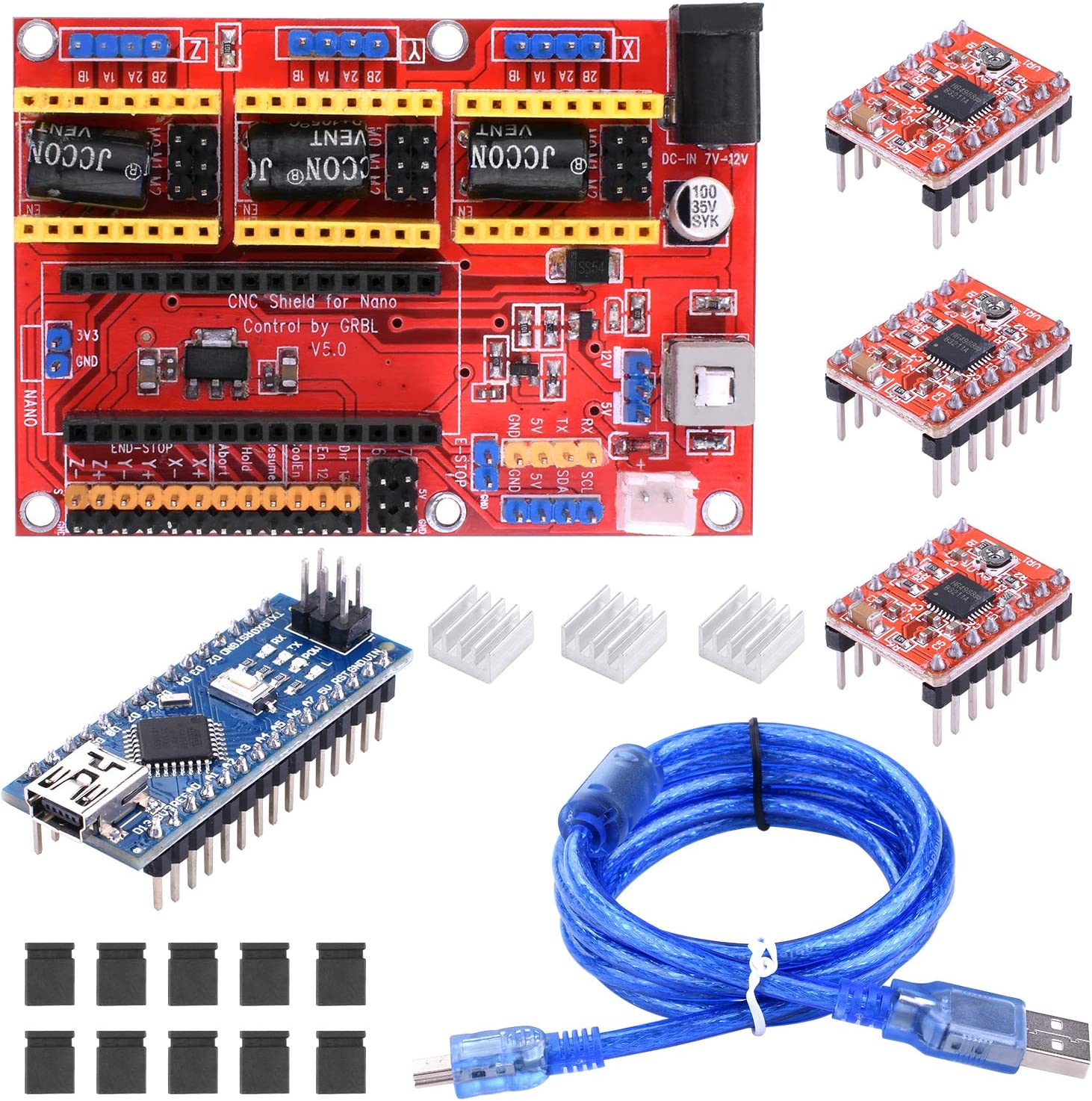 BONROB 3D Printer with for Engraving Expansion Board w// A4988 Motor Drivers Heat Sink BS015