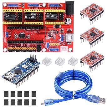 BONROB Tarjeta de Expansión de Grabado CNC Nano con Conductores de Motor A4988, Disipador de Calor para Arduino Impresora 3D BS015