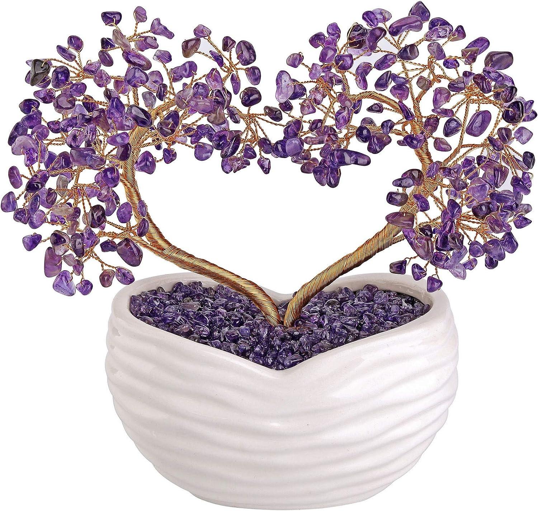 "Jovivi Amethyst Gemstone Heart Money Tree Feng Shui Bonsai for Reiki Healing Chakra Stone Balancing Energy Generator Spiritual Meditation Home Interior Office Decor 7.87""-8.26"""