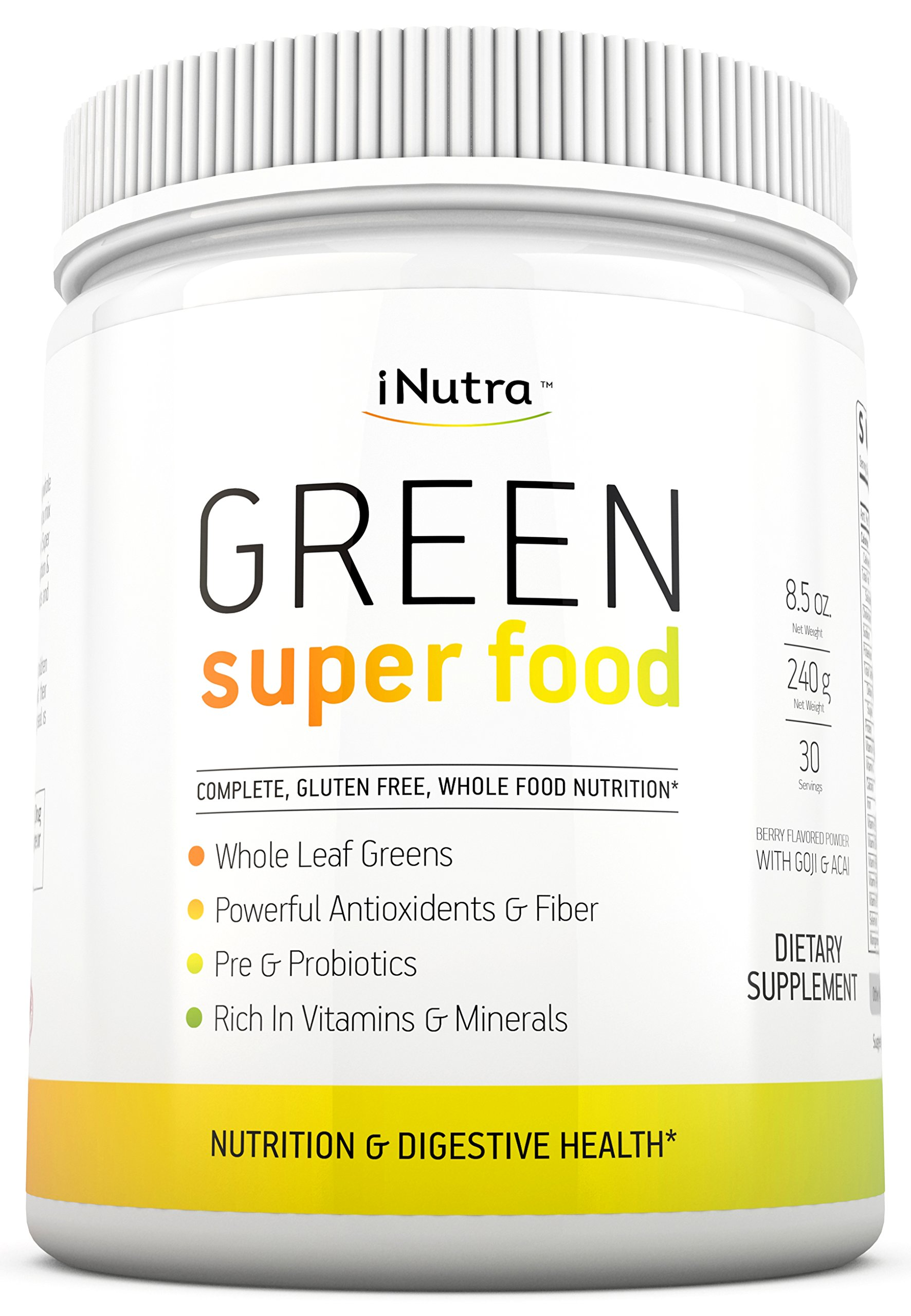 iNutra Green Super Food Dietary Supplement — Gluten Free, Vegan Whole Food Nutrition — Powerful Antioxidants and Fibers — Rich in Vitamins, Minerals and Probiotics