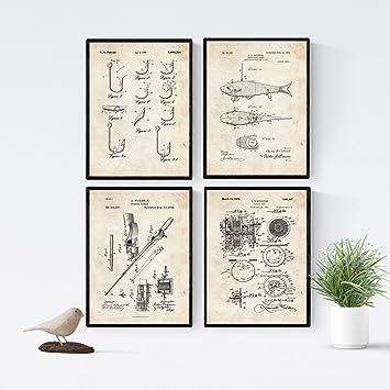 Amazon.com: Nacnic Vintage - Pack de 4 Láminas con Patentes ...