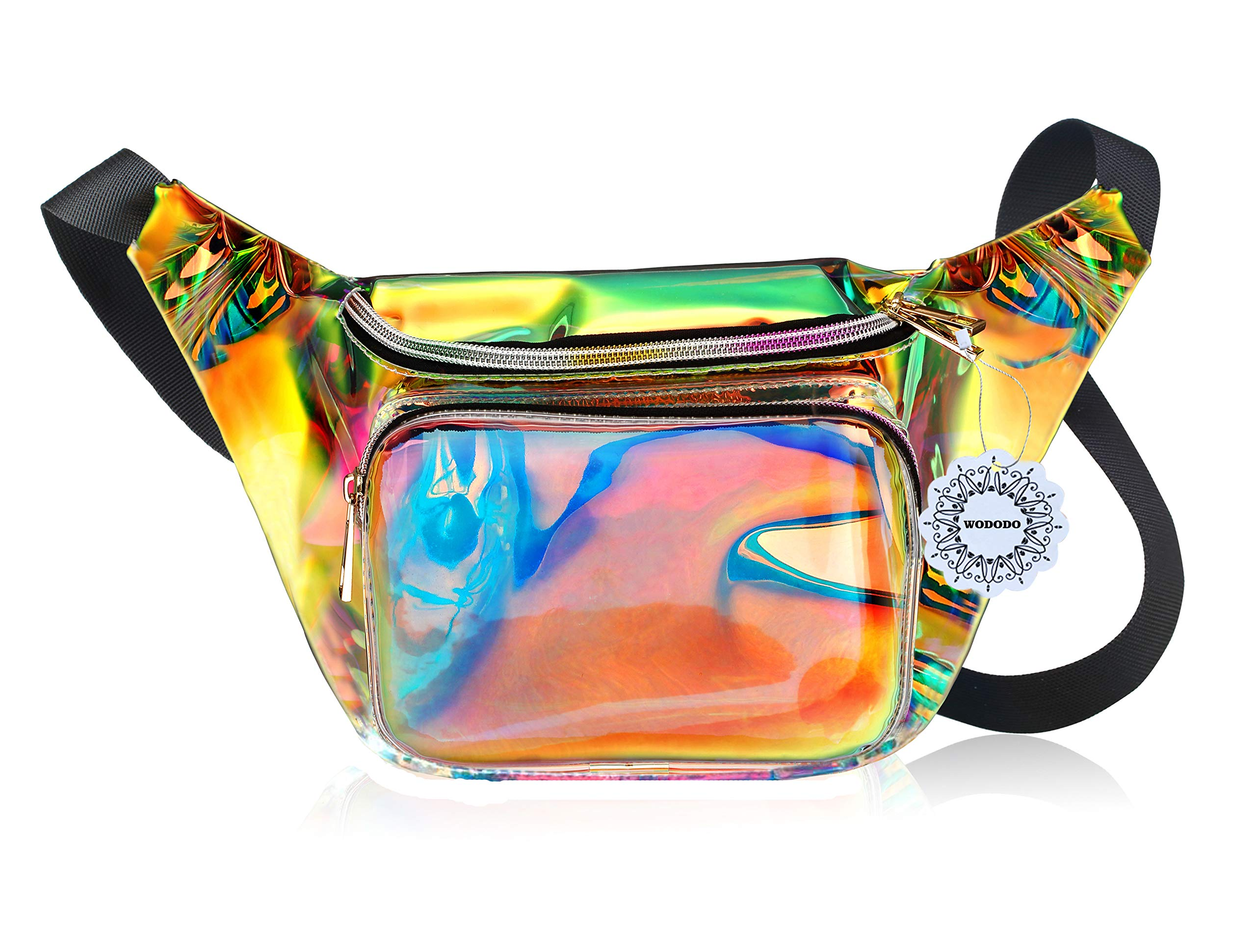 Water Resistant Shiny Neon Fanny Bag for Women Rave Festival Hologram Bum Travel Waist Pack (Multicolor)
