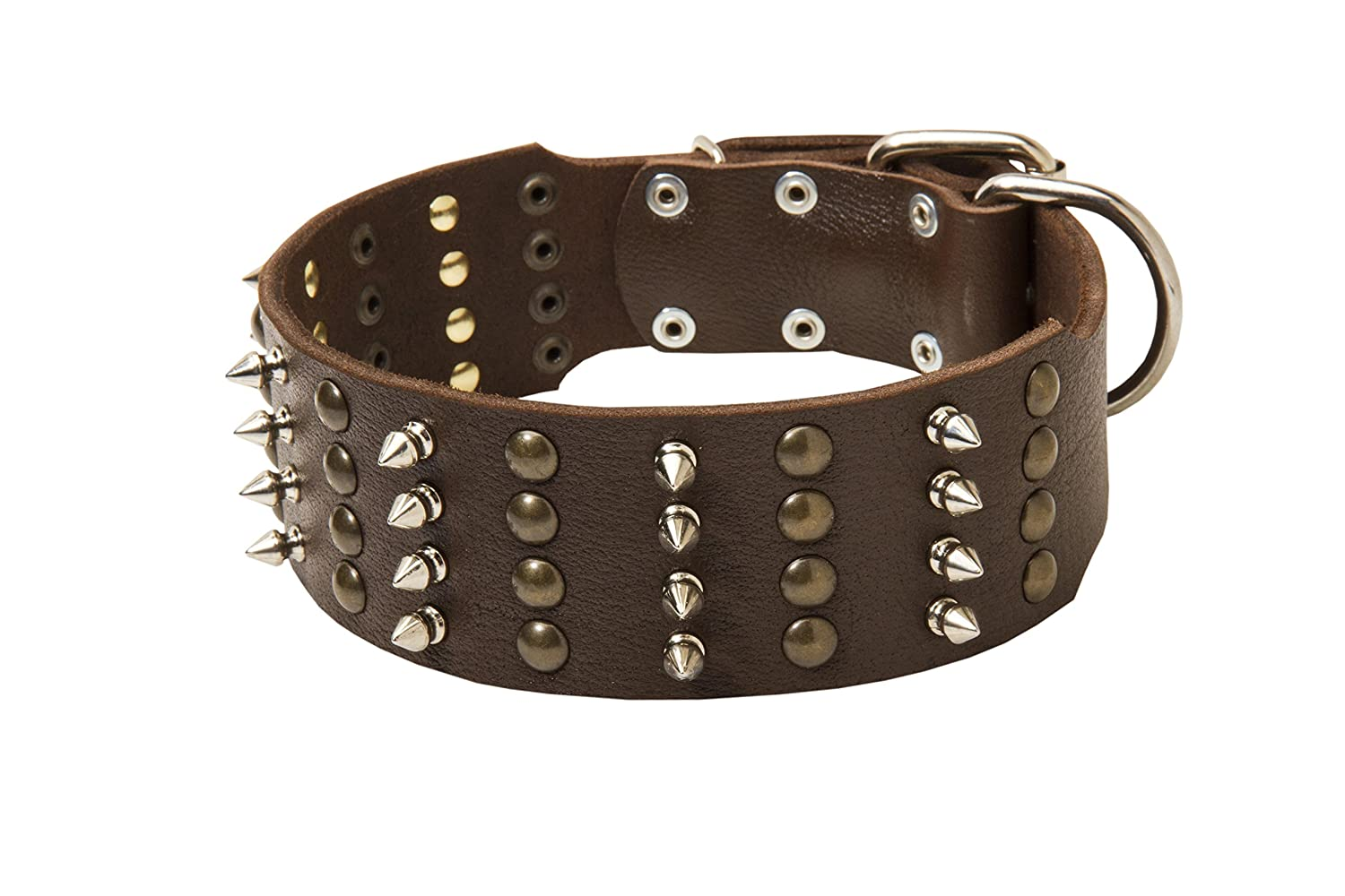 Black fits for 19 inch dog's neck size Black fits for 19 inch dog's neck size 19 inch Extra Wide Black Leather Studded Dog Collar with 4 Rows of Spikes and Studs  Crazy Combo  2 2 5 inch (60 mm) wide