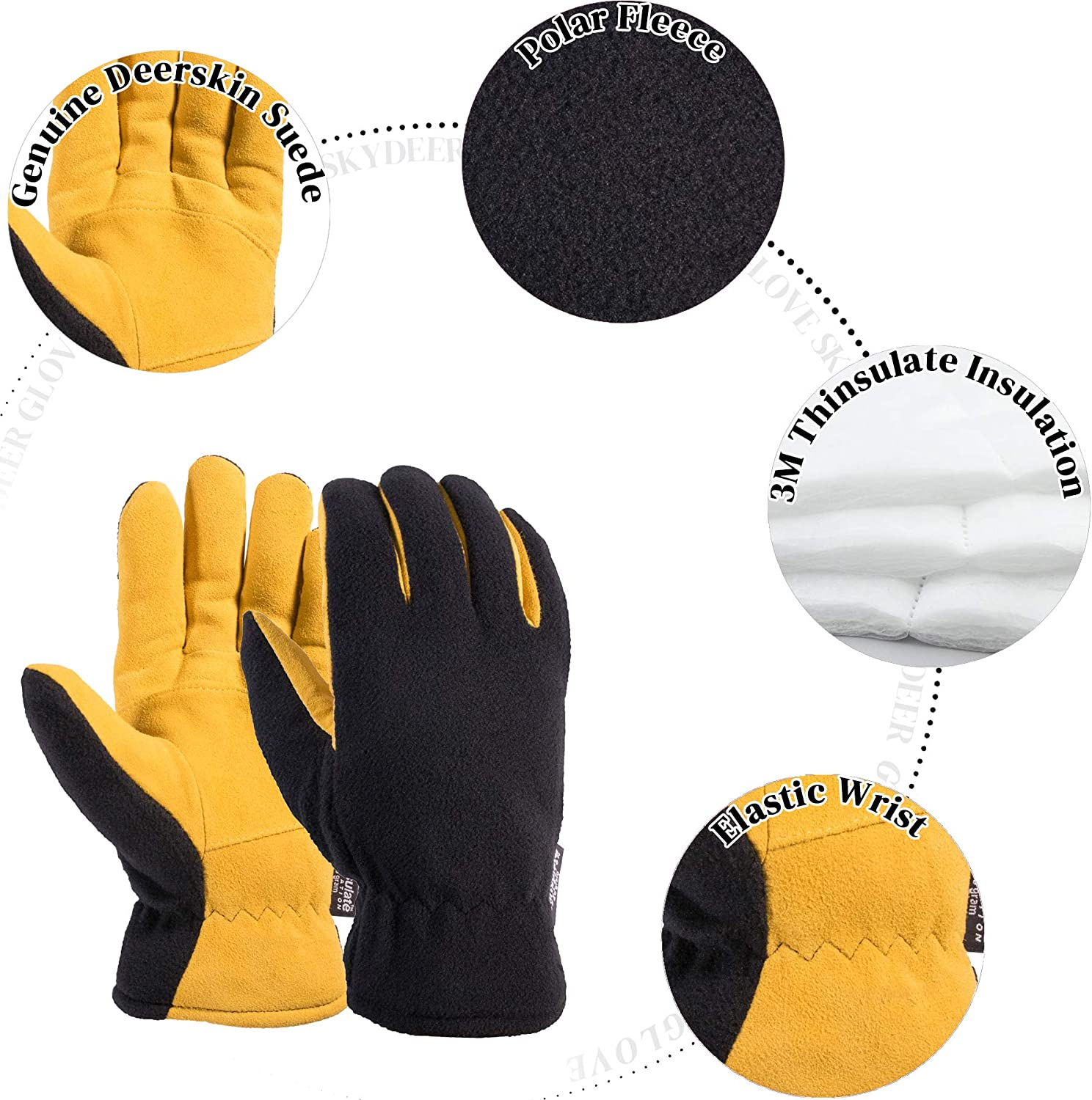 Winter Gloves Men Acdyion Genuine Leather Touch Screen Warm Driving Gloves