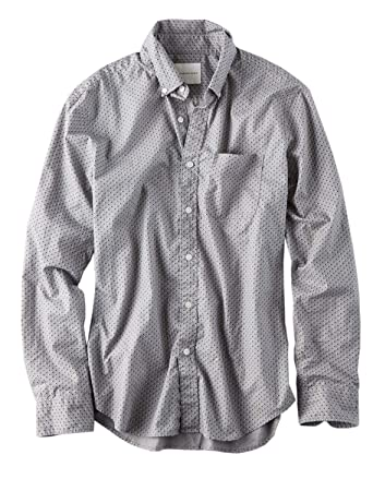 84e55dbab2dd American Eagle Mens Printed Poplin Button-Down Shirt Light Grey Print  (Small)