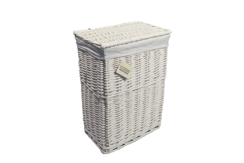 woodluv Medium Rectangular Laundry Linen Wicker Basket, White Elitehousewares E01-3100M