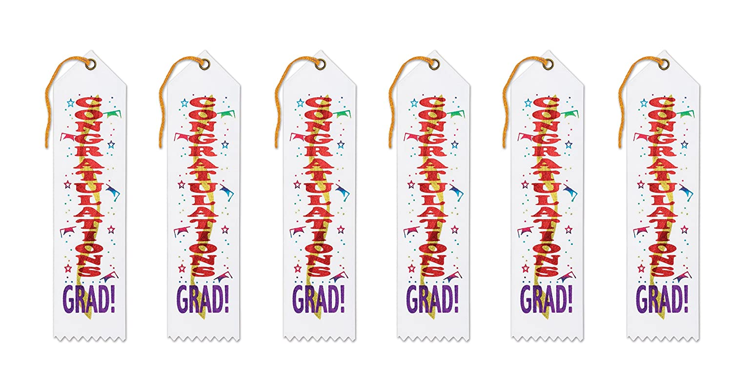 Beistle GAR303 Congratulations Grad 6-Pack The Beistle Company Award Ribbons 2 by 8-Inch