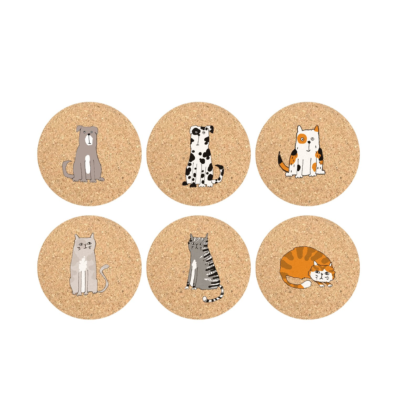 Mee'life Cork Coasters Set of 6 Strong Water Absorption,Protect Furniture,Ecofriendly Not Stick to Cups and Glasses,Bar Size Large Round 3.94 Inch, with Funny Animal Cartoons Design Fits All Occasions