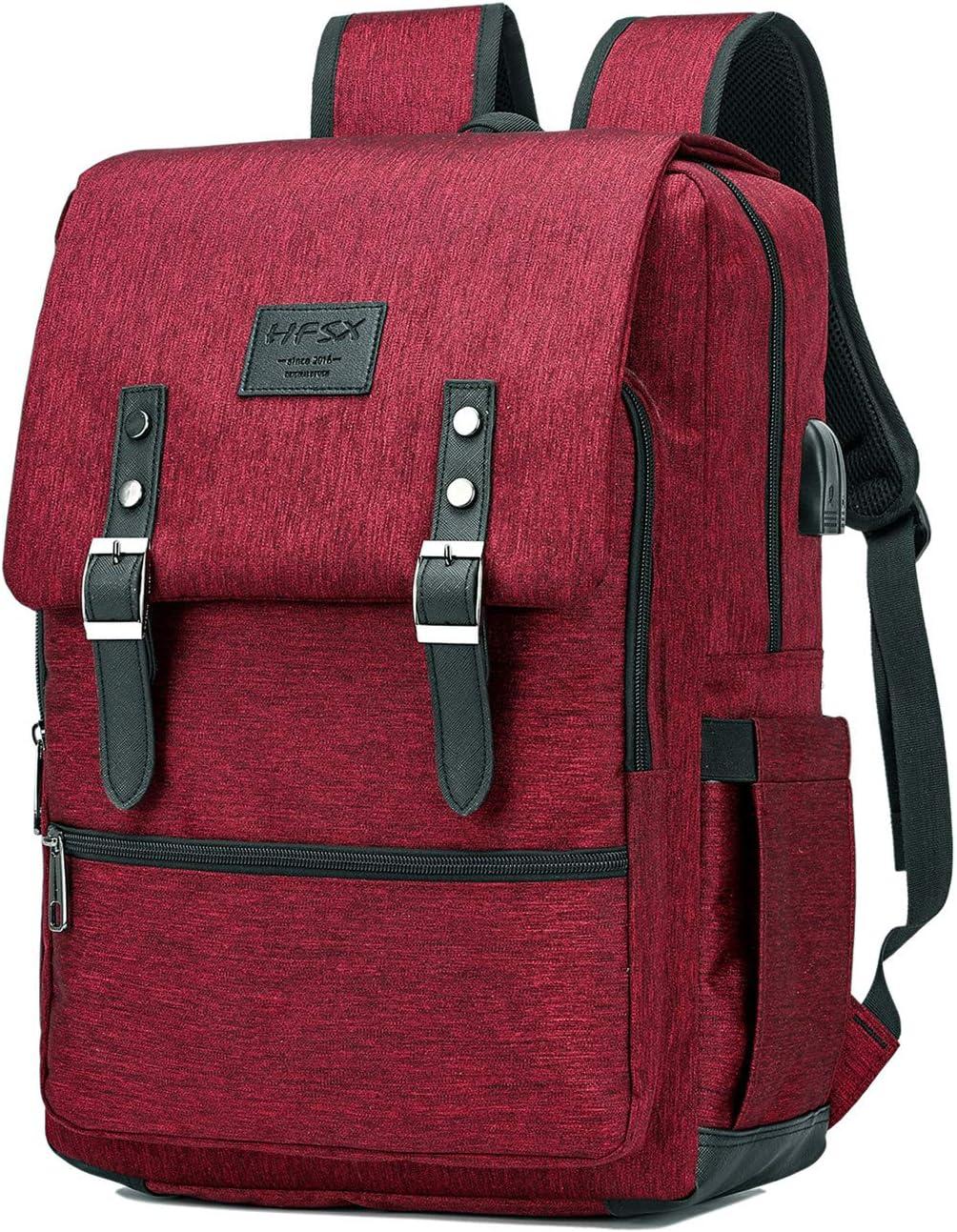 Vintage Backpack Anti Theft Laptop Backpack Men Women Business Travel Computer Backpack School College Bookbag Stylish Water Resistant Vintage Backpack with USB Port Fits 15.6 Inch Laptop