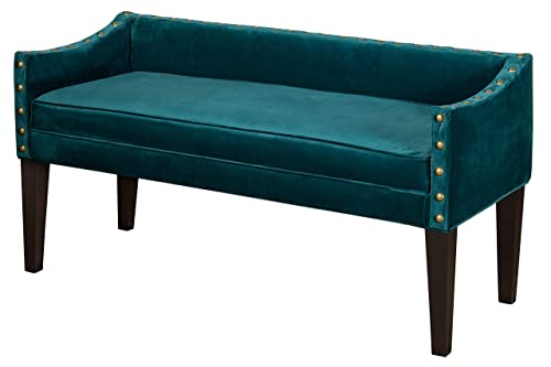 Leffler Home Whitney Long Upholstered Arms and Nailhead Trim in Chantel Jasper Bench, Teal