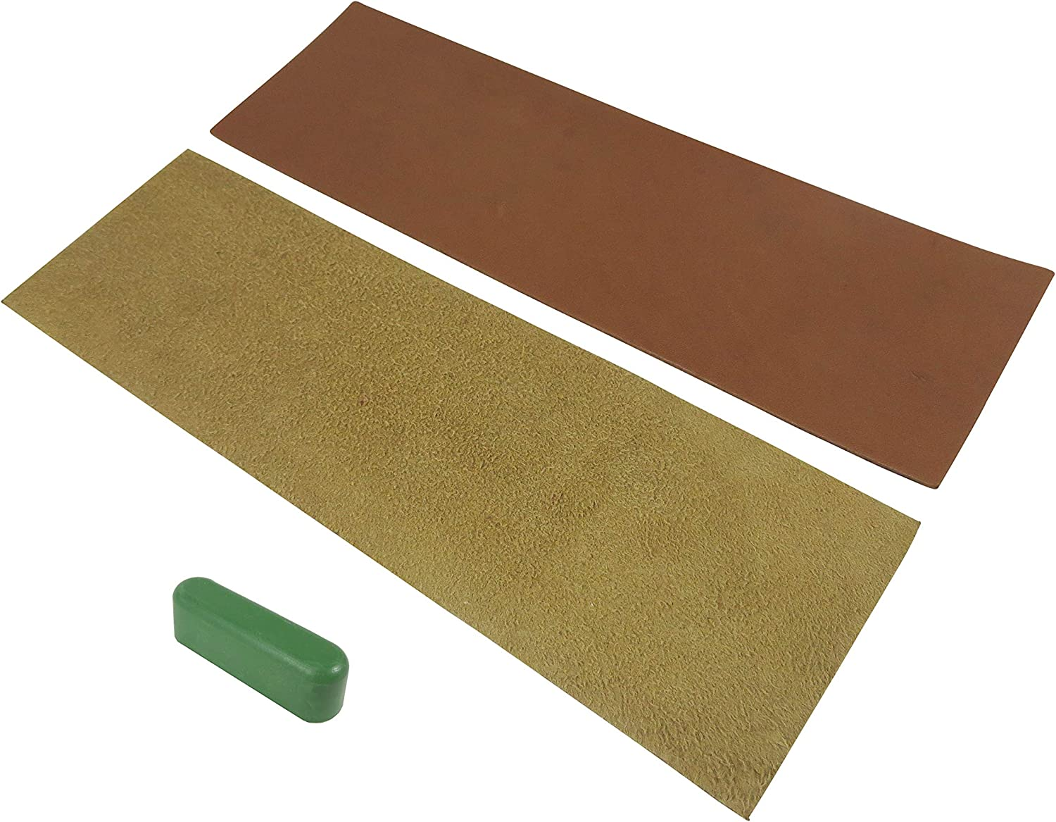 Taytools 2 Piece French Leather Strop Kit 3 x 10 Inches Each with 1.2 Ounce Bar Green Chromium Oxide 0.5 Micron Micro Fine Polishing Compound