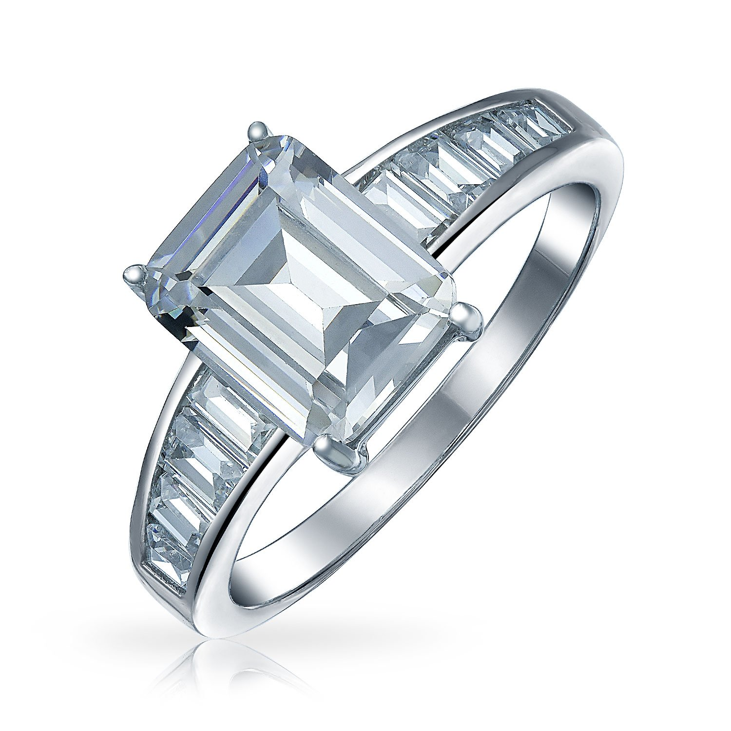 .925 Sterling Silver Emerald Cut CZ Engagement Ring