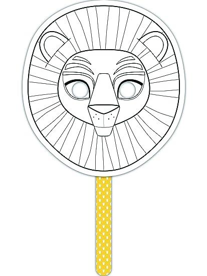 """Avenue Mandarine """"diseño de león su Propia Colorido Stick Máscara (Negro/de"""
