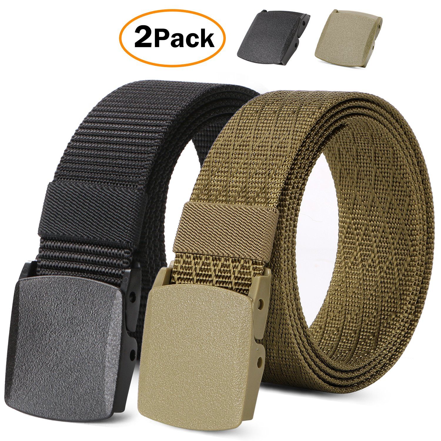2 Pack Nylon Belts for Men Outdoor Military Web Belt Tactical Adjustable Belt with Plastic Buckle