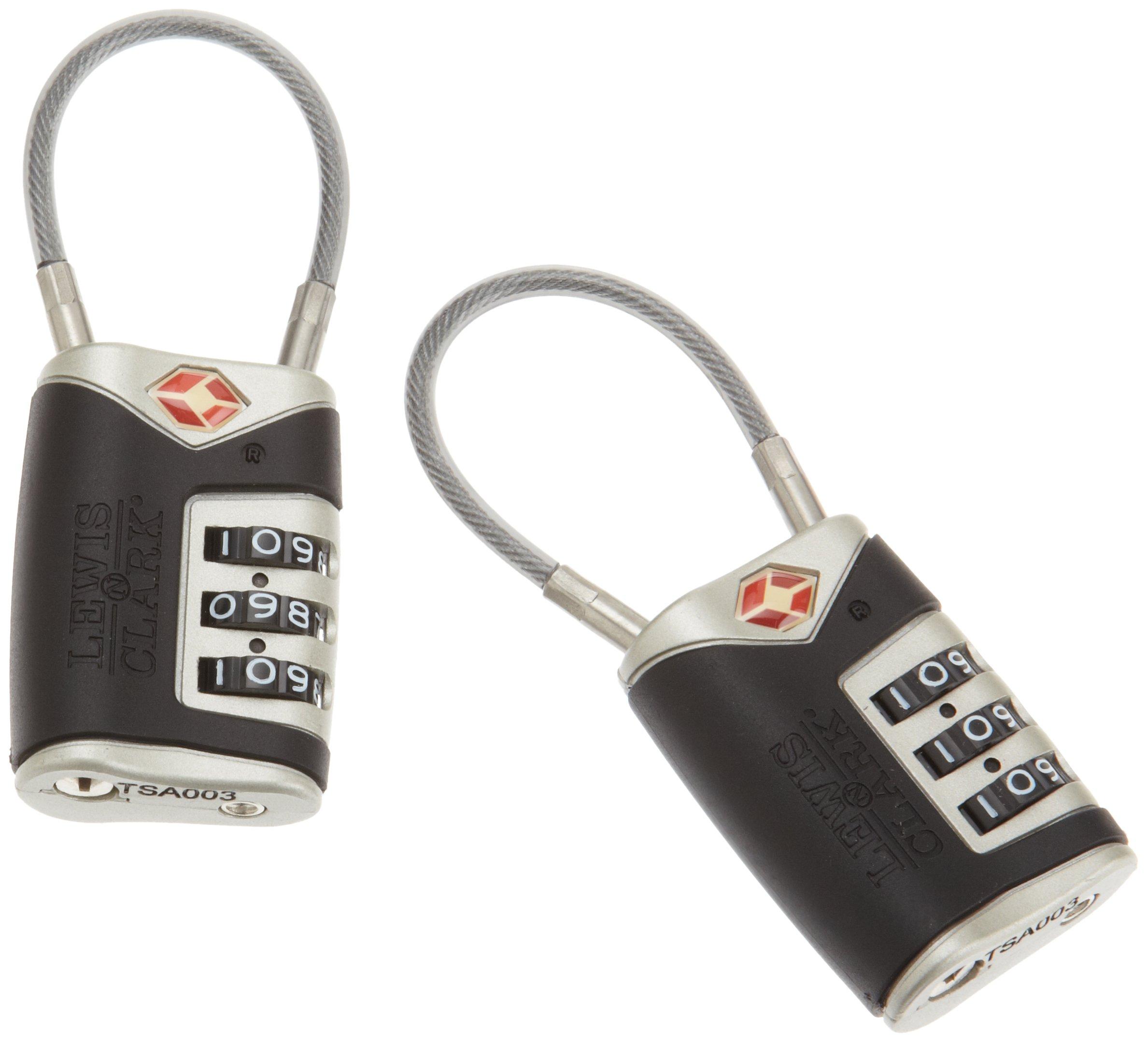 4014648 Lewis N Clark Travel Sentry Cable Lock 2 Pack black by Lewis N. Clark