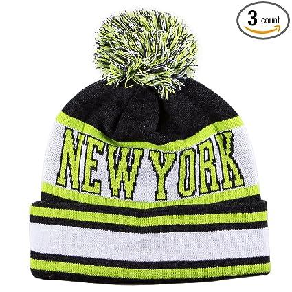 8bdee79819988 Amazon.com   City Hunter Sk1130 New York Stripes Pom Pom Beanie Hats ...