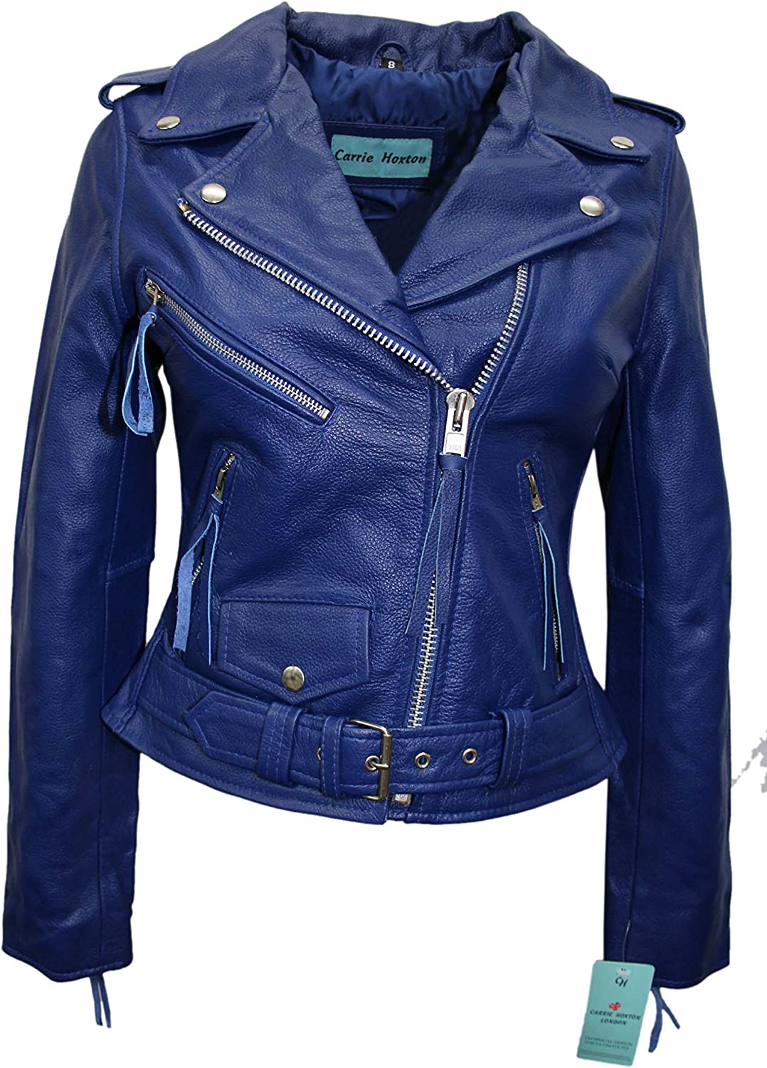 Ladies Leather Jacket BLUE Biker Motorcycle Style BRANDO REAL HIDE JACKET MBF