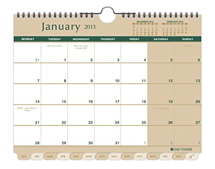 Day Timer Monday Start Tabbed Wall Calendar 11 X 8 5